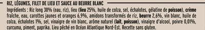 Filet de Lieu Sauce au Beurre Blanc et Riz aux petits légumes - Ingrediënten - fr