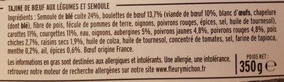 Tajine de boeuf aux légumes du soleil - Ingrédients - fr