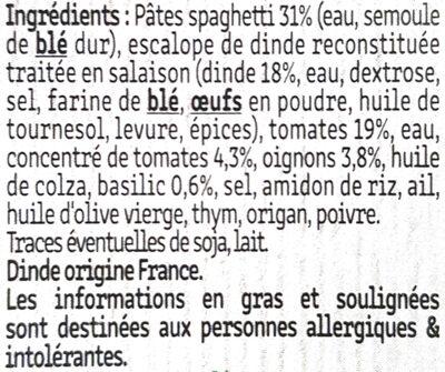 ESCALOPE MILANAISE & SPAGHETTI À LA SAUCE TOMATE - Ingrédients - fr