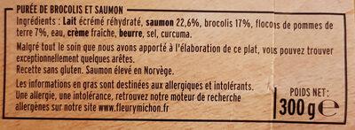Filet de Saumon Purée de Brocolis - Ingredients - fr