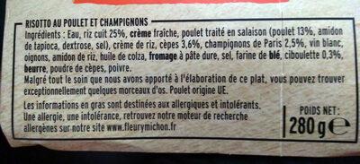 Risotto au Poulet aux Cèpes - Ingrédients