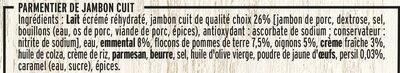 Parmentier de Jambon Emmental Gratiné - Ingrédients - fr
