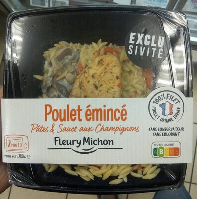 Poulet émincé, pâtes et sauce au champignons - Produit