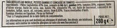 Petites Gambas Concassé de Tomates Tagliatelles au Basilic - Ингредиенты