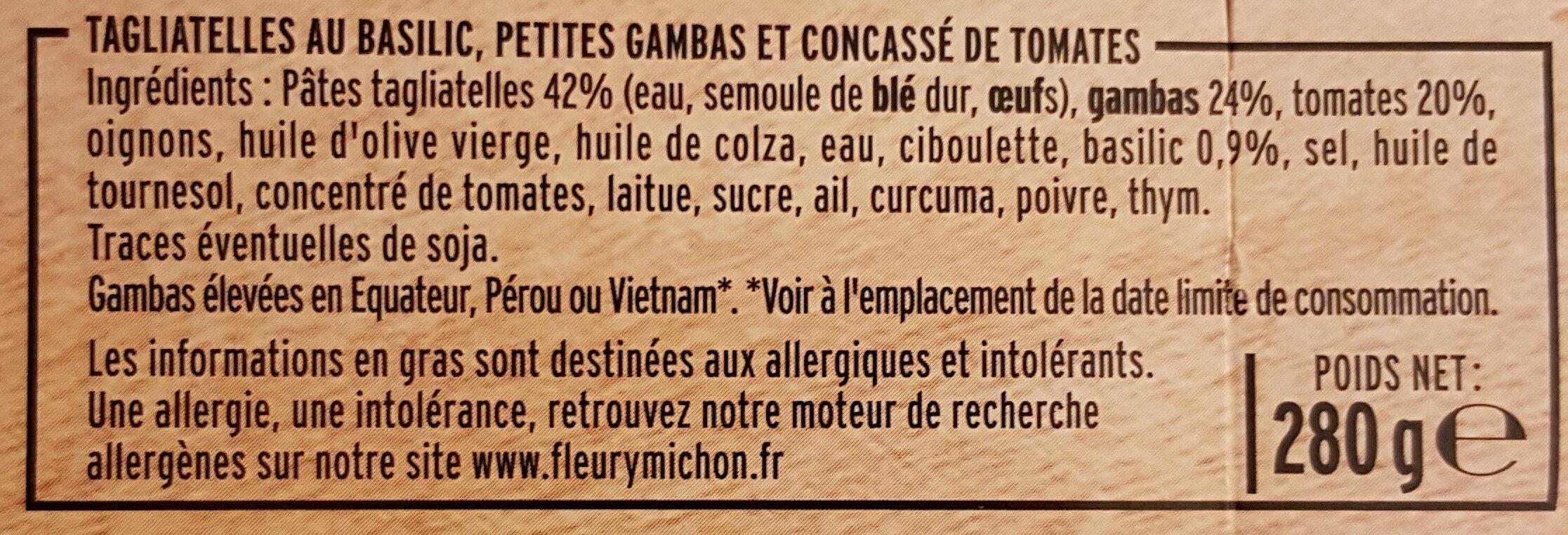 Petites Gambas & tagliatelles au basilic - Ingrediënten - fr