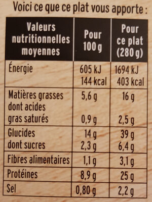 Petites Gambas & tagliatelles au basilic - Voedingswaarden - fr