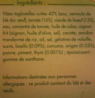 Tagliatelles Bolognaise - Ingrédients - fr