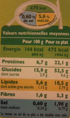 Tagliatelles Bolognaise - Informations nutritionnelles - fr