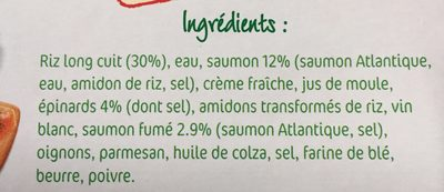 Saumon et risotto à la florentine - Ingrédients