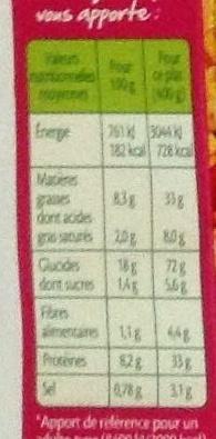 Paëlla Valenciana poulet et fruits de mer - Nutrition facts