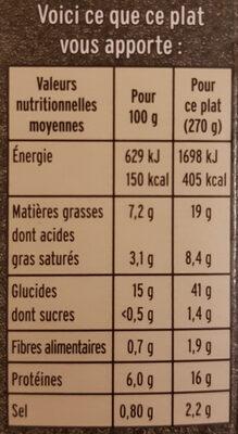 Les St-Jacques aux Petits Légumes et Riz de Camargue - Voedingswaarden - fr