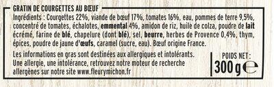 Gratin de courgettes au boeuf - Ingrédients