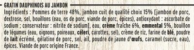 Gratin Dauphinois Jambon et Emmental - Ingrédients - fr