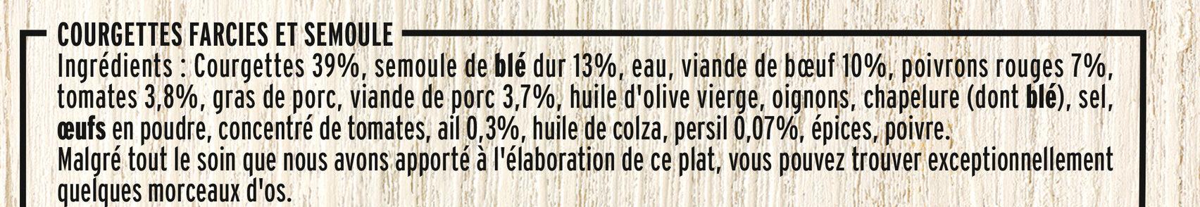 Courgettes farcies & semoule méridionale - Ingrediënten - fr