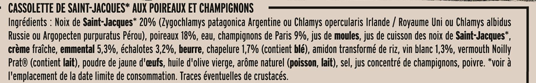 Cassolette St-Jacques Poireaux et Champignons - Ingrédients - fr