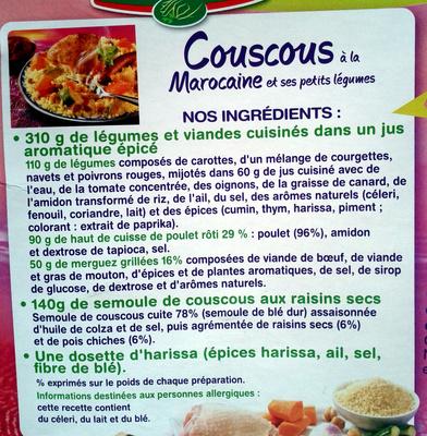 couscous à la Marocaine et ses petits légumes - Ingrédients