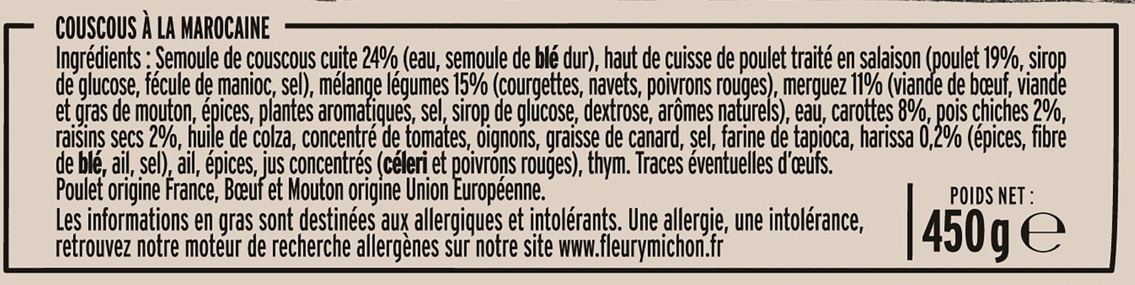 Couscous à la marocaine - Ingredientes