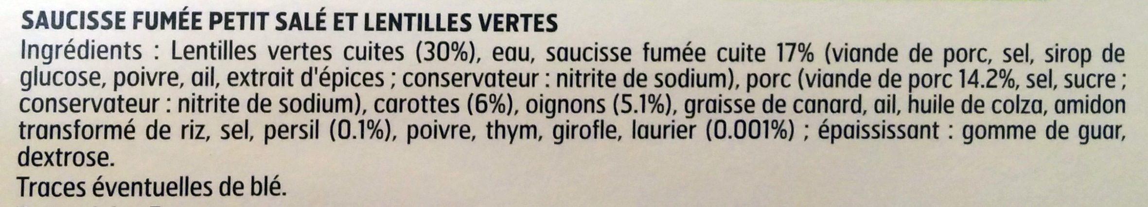 Petit Salé aux lentilles vertes - Ingredientes