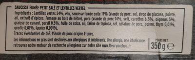 Le Petit Salé et ses Lentilles Vertes de Vendée - Ingredienti - fr