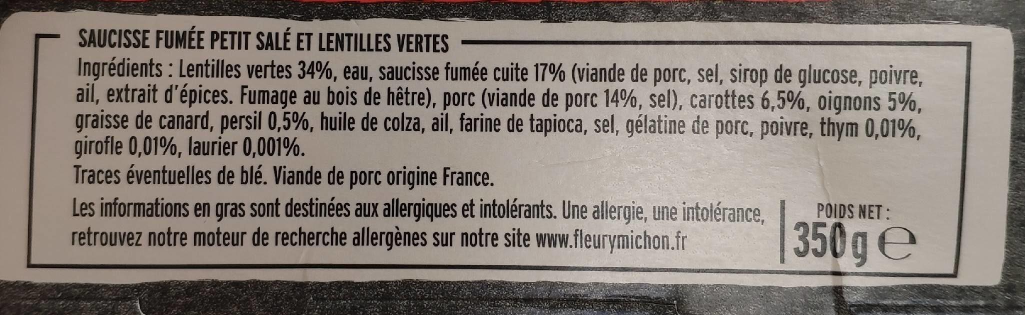 Petit Salé aux lentilles vertes - Ingredients