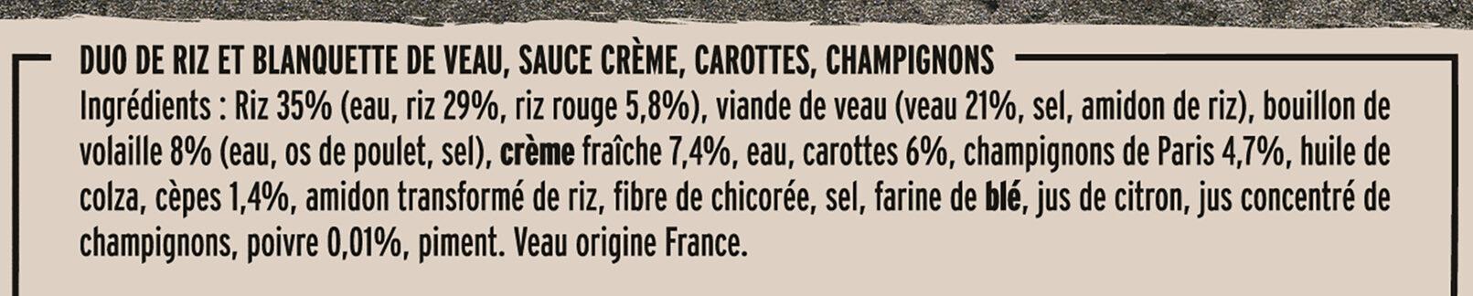 La Blanquette de Veau et son duo de riz - Ingredienti - fr