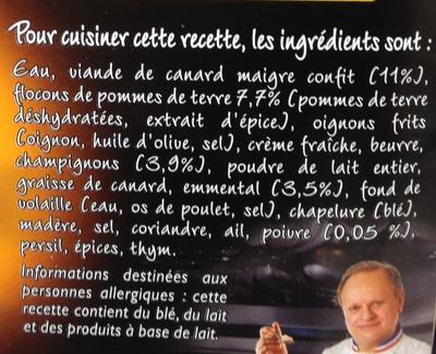 Le fameux parmentier de canard - Ingrédients - fr
