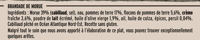 Brandade de Morue à la Crème Fraîche - Ingrédients - fr