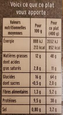 Paëlla Valenciana - Informazioni nutrizionali - fr