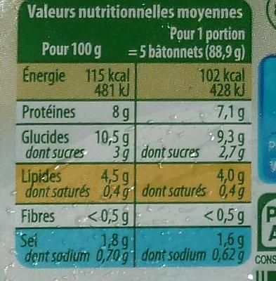 Le Bâtonnet Moelleux (18 Bâtonnets) - Voedingswaarden - fr