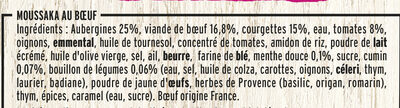 Moussaka Boeuf et Aubergines - Ingrédients - fr