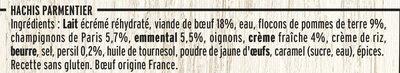 Hachis parmentier purée à la crème fraîche - Inhaltsstoffe - fr
