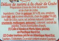 Délices de surimi à la chair de crabe - Ingredienti - fr