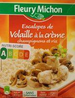 Escalopes de volaille à la crème champignons et riz - Produit