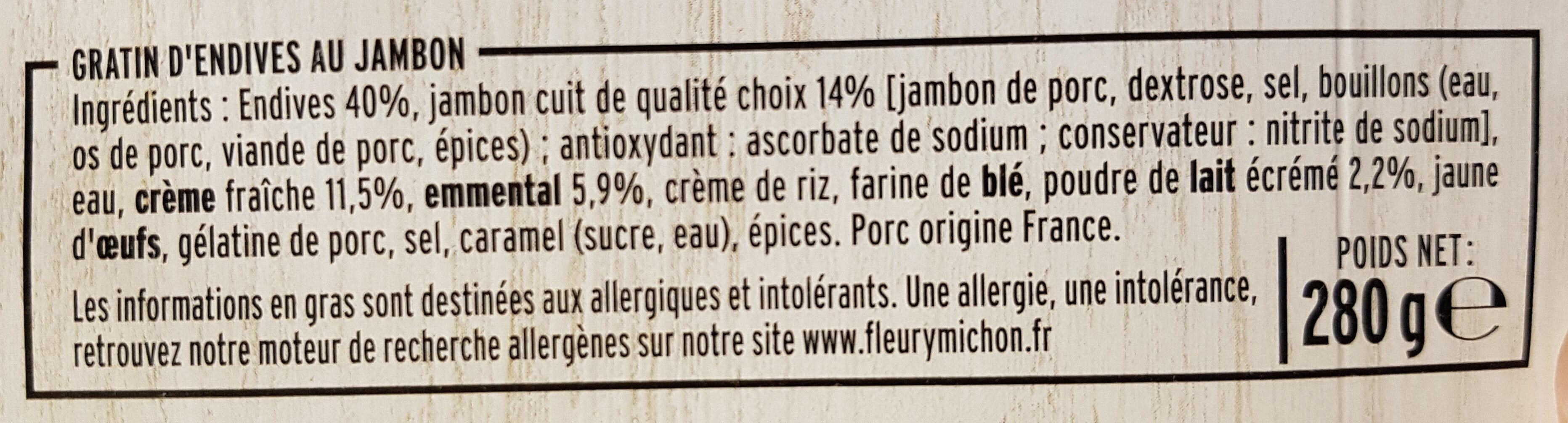 Gratin d'Endives au Jambon & à l'emmental - Ingredienti - fr