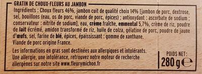 Gratin de choux-fleurs au jambon - Ingrédients - fr
