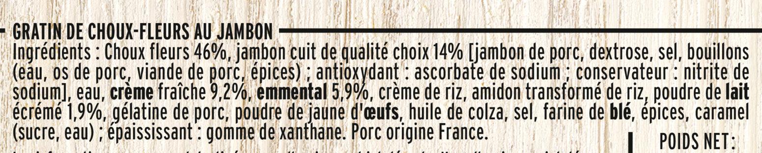Gratin de choux-fleurs au jambon - Ingredients
