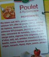 Poulet & Riz basquaise - Ingrédients
