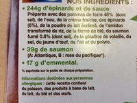 Gratin de pommes de terre saumon* épinards - Ingrédients - fr