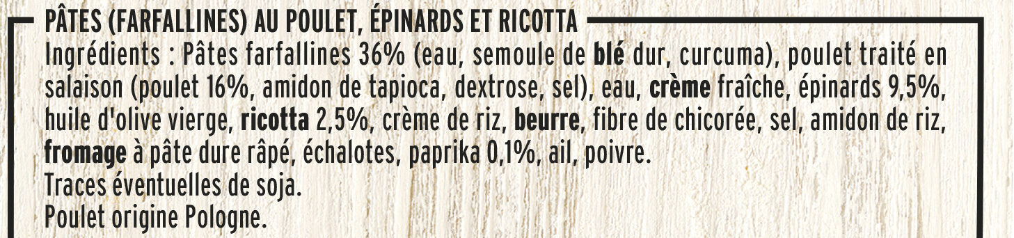 Poulet Farfallines Sauce Ricotta Epinards - Ingredients