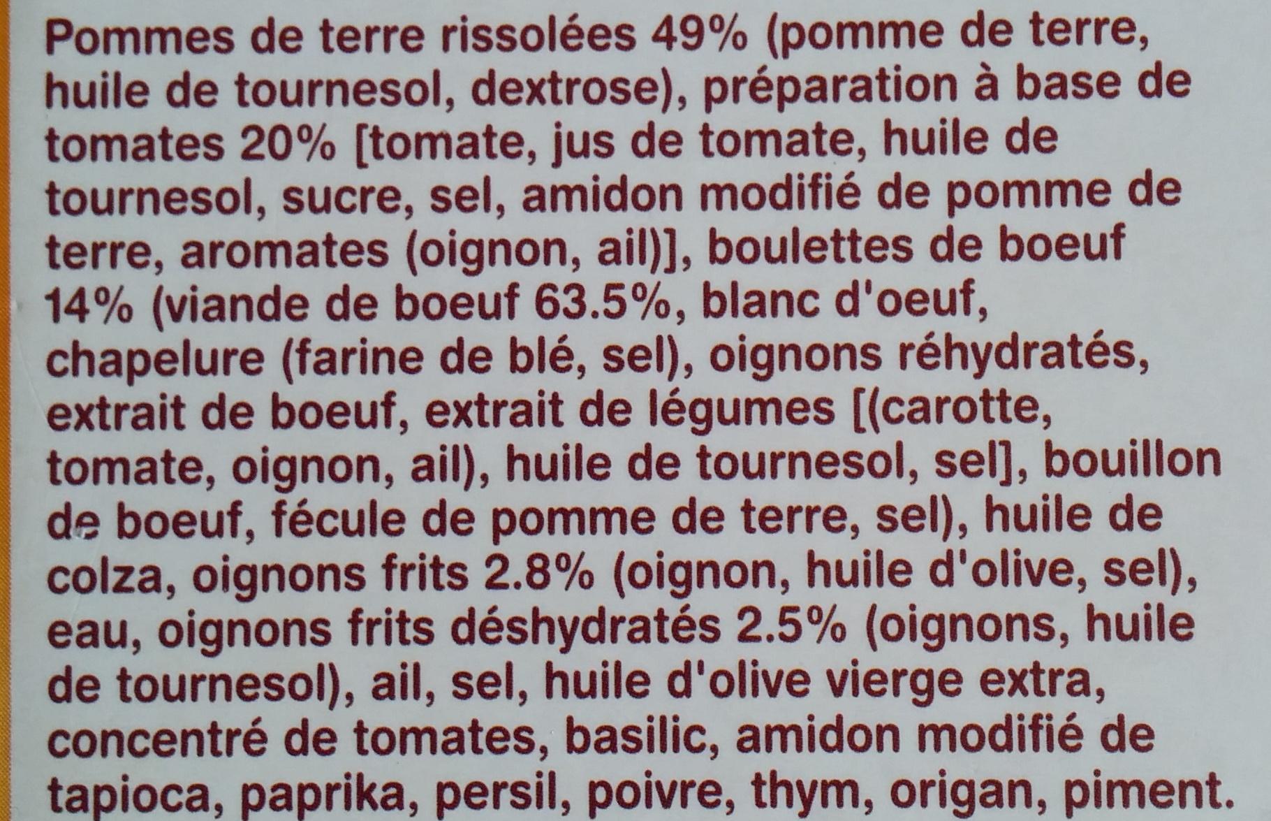Boulettes de boeuf pomme de terre - Ingredients
