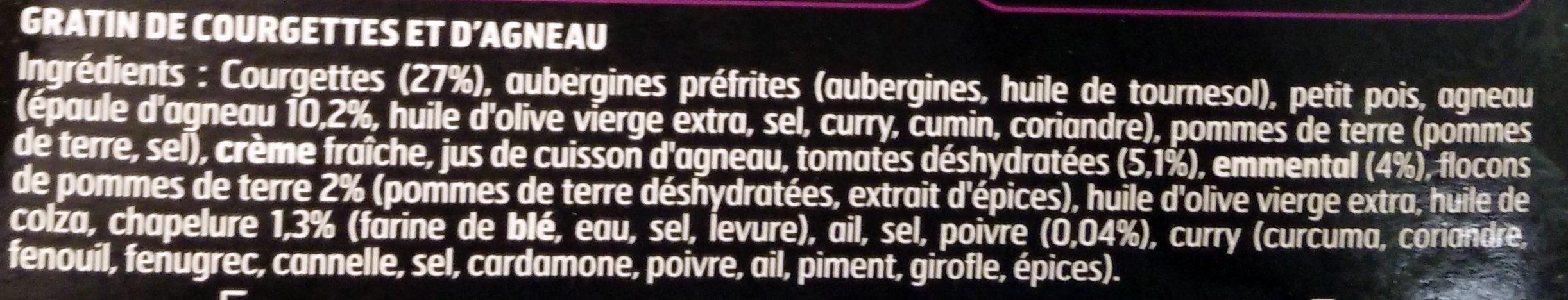 Le gratin d'agneau et courgettes - Ingrédients