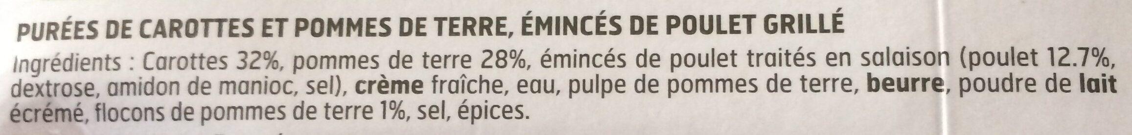 Émincés de poulet grillé et duo de purées - Ingrédients - fr