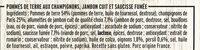 Poêlée Campagnarde - Saucisse fumée, Jambon, Champignons - Ingrédients