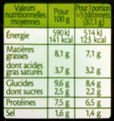 le Gourmand Thon (14 Bâtonnets) - Voedingswaarden