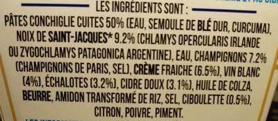 Box à la Bretonne (Pâtes conchiglie aux Saint-Jacques*, cidre breton & crème) - Ingrediënten