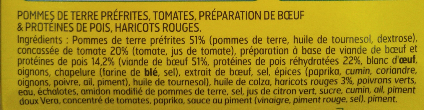 Tex-mex balls au boeuf & potatoes - Ingredients