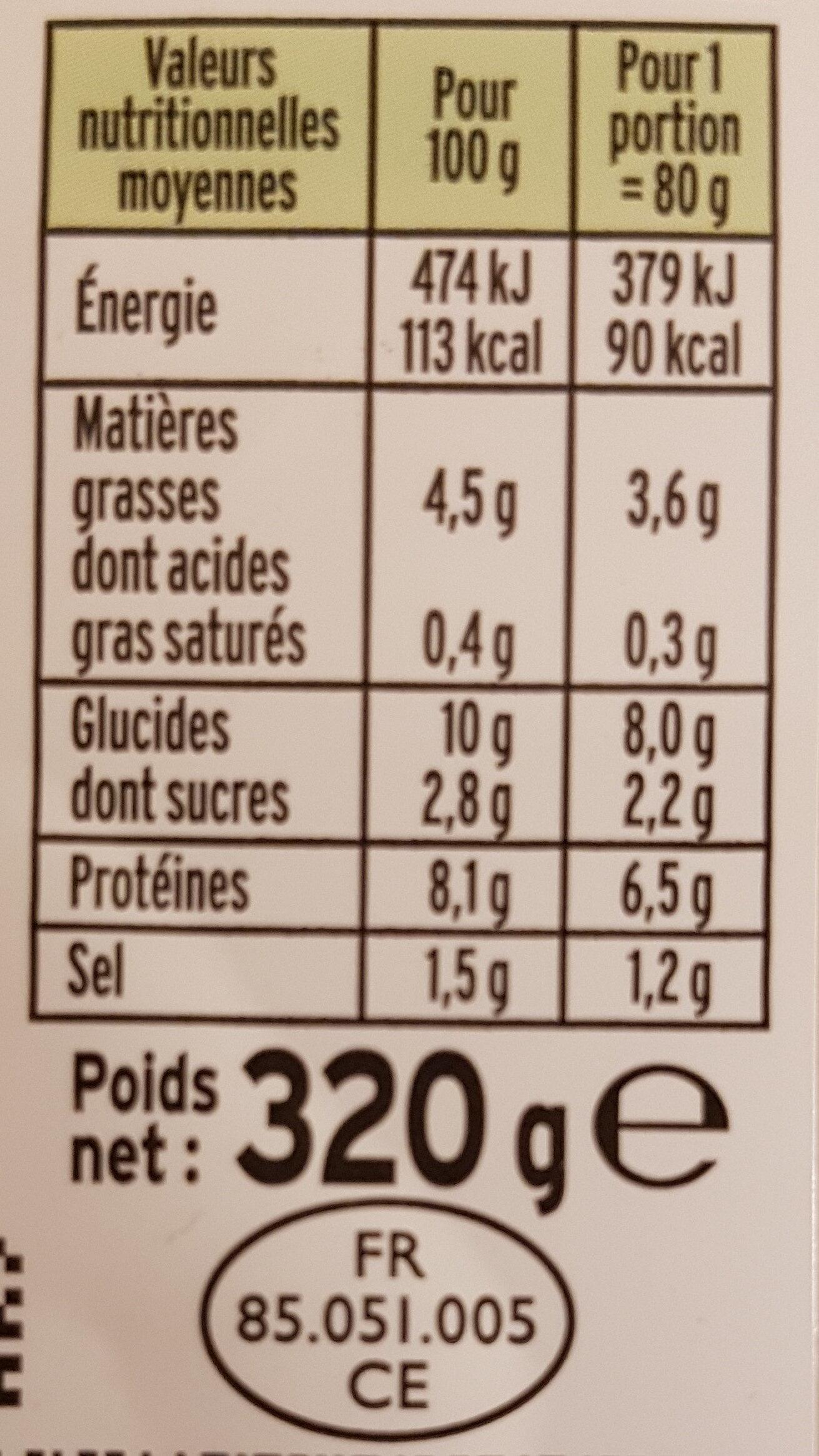 Le Moelleux - Informations nutritionnelles - fr