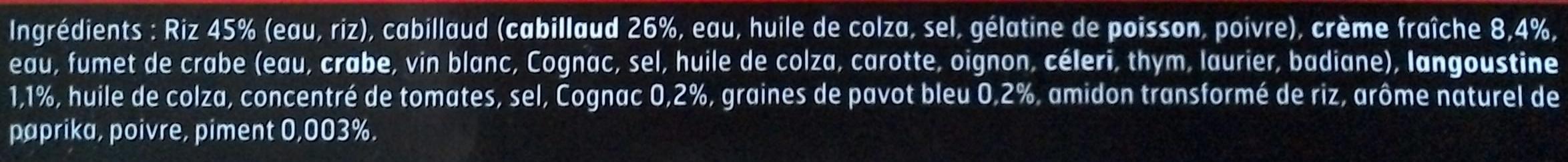 Cabillaud crème de langoustines et ses rouleaux de riz au pavot - Ingrédients - fr