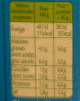 Le bâtonnet Moelleux - 9 bâtonnets - Informations nutritionnelles - fr