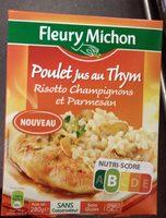 Poulet jus au thym, risotto champignons et parmesan - Produit - fr
